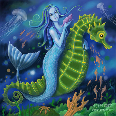 Poster featuring the digital art Mermaid by Valerie White