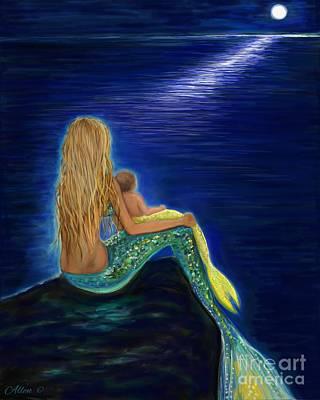 Mermaids Sweet Babies Moon Poster by Leslie Allen