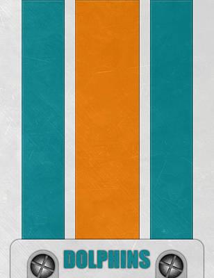 Miami Dolphins Helmet Art Poster by Joe Hamilton