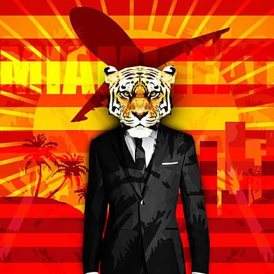 Miami Tiger Poster by Gallini Design