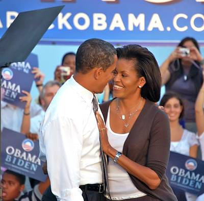 Michelle And Barack Poster by Richard Pross