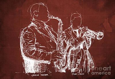Miles Davis And Charlie Parker On Stage, Original Sketch Poster