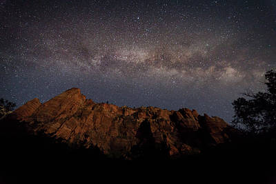 Milky Way Galaxy Over Zion Canyon Poster