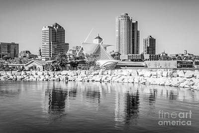 Milwaukee Skyline Photo In Black And White Poster by Paul Velgos