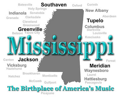 Mississippi State Pride Map Silhouette  Poster