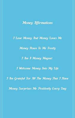 Money Affirmations - White Poster by Better Life