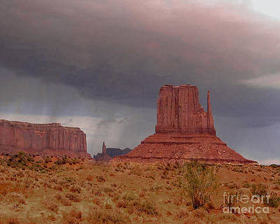 Monument Valley - Rain Coming Poster by Merton Allen