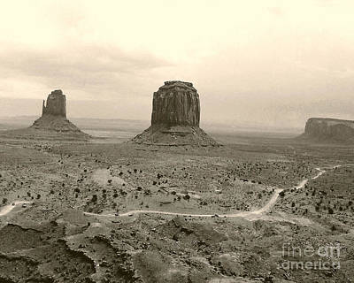 Monument Valley Panorama At Dusk Poster by Merton Allen