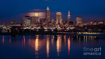 Moon Rising Over Cleveland  Poster by Frank Cramer