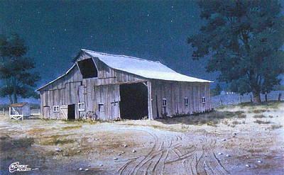 Moonlit Barn Poster
