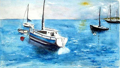 Poster featuring the painting Moored Boats by Sibby S