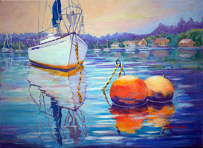 Mooring In Port Moody Poster by Val Philbrook