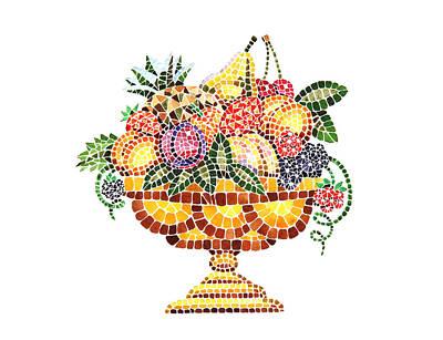 Mosaic Fruit Vase Poster