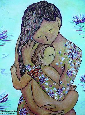 Motherhood Flowers All Over Poster