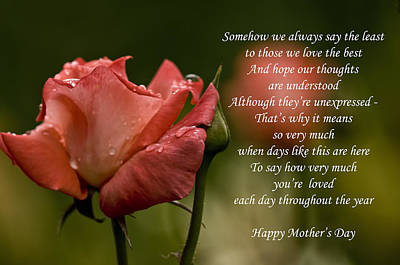 Poster featuring the photograph Mother's Day Card 5 by Michael Cummings