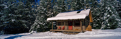 Mountain Cabin And Snow Covered Forest Poster by Panoramic Images