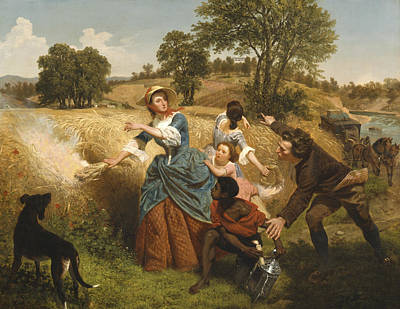 Mrs Schuyler Burning Her Wheat Fields On The Approach Of The British Poster by Emanuel Gottlieb Leutze