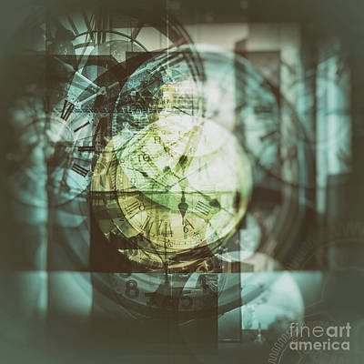 Poster featuring the photograph Multi Exposure Clock   by Ariadna De Raadt