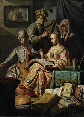 Music Rend Company Poster by Rembrandt van Rijn