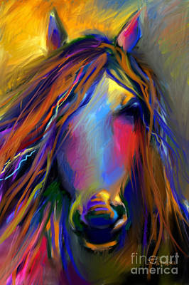 Mustang Horse Painting Poster
