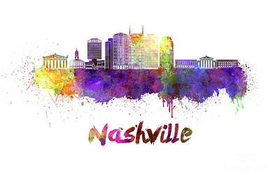 Nashville Skyline In Watercolor Poster by Pablo Romero