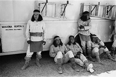 Native American Extras Dressed As Apache Warriors The High Chaparral Set Old Tucson Arizona 1969 Poster by David Lee Guss