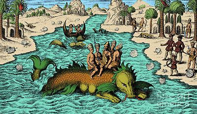 Native Noblemen Riding Sea Monster, 1621 Poster by Science Source