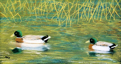 Poster featuring the pastel Near The Reeds by Jan Amiss