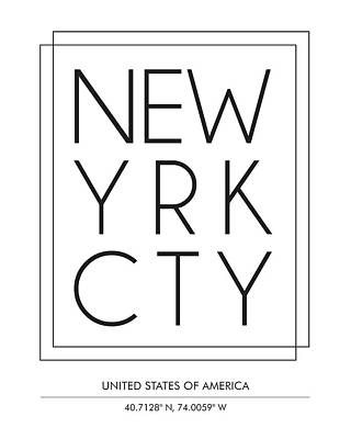 New York City, United States Of America - City Name Typography - Minimalist City Posters Poster
