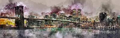 New York City Skyline Watercolor  Poster by Jon Neidert