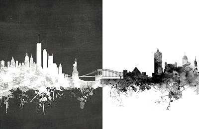 New York Memphis Skyline Mashup Poster by Michael Tompsett