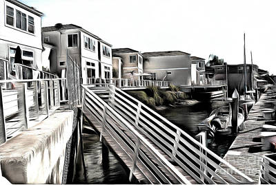 Newport Beach Harbor Dock Poster by Gabe Aguilar