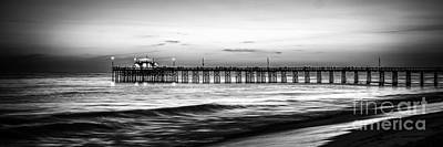Newport Beach Pier Panorama Black And White Photo Poster by Paul Velgos
