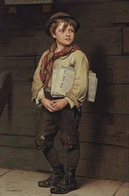 News Boy Poster by John George Brown