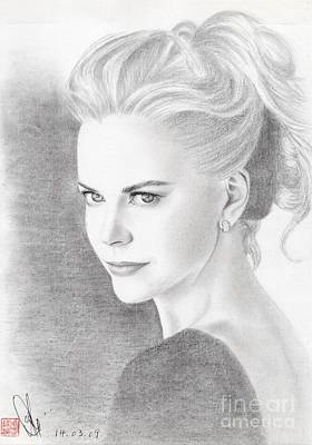Poster featuring the drawing Nicole Kidman by Eliza Lo