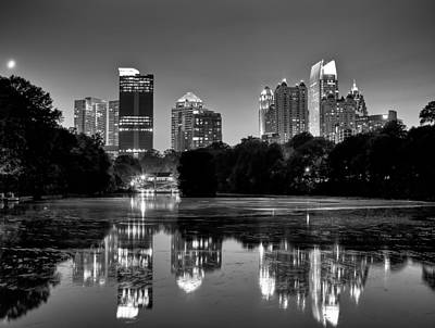 Night Atlanta.piedmont Park Lake. Poster by Anna Rumiantseva