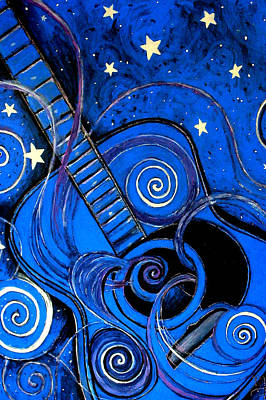 Night's Melody A.k.a. Blue Guitar Poster by Monica Furlow