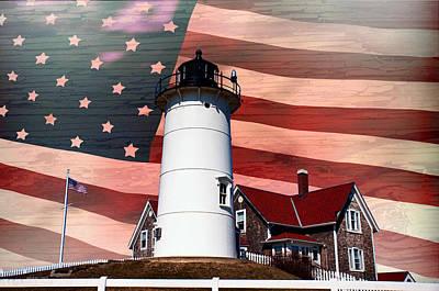 Nobska Lighthouse On American Flag Poster