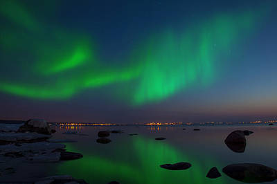 Northern Lights Aurora Borealis In Northern Europe Poster