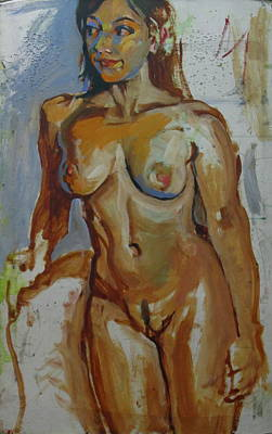 Nude Portrait Of A Poster by Piotr Antonow