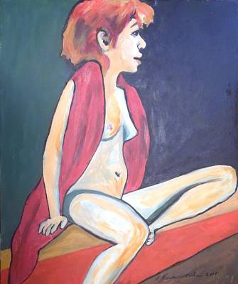 Poster featuring the painting Nude With Red Shawl by Esther Newman-Cohen