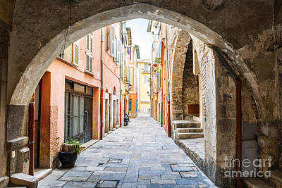 Old Street In Villefranche-sur-mer Poster by Elena Elisseeva