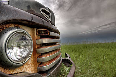 Old Vintage Truck On The Prairie Poster by Mark Duffy