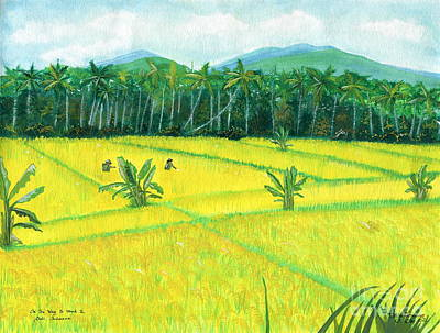 Poster featuring the painting On The Way To Ubud II Bali Indonesia by Melly Terpening