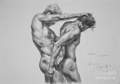 Original Drawing Sketch Charcoal Male Nude Gay Interest Man Art Pencil On Paper -0035 Poster by Hongtao     Huang