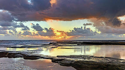 Overcast And Cloudy Sunrise Seascape Poster