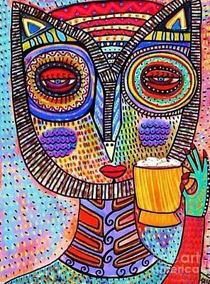 Owl Goddess Drinking Hot Chocolate Poster by Sandra Silberzweig