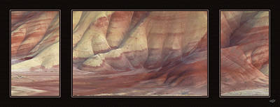 Poster featuring the photograph Painted Hills Triptych by Leland D Howard