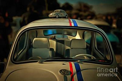 Painting Of 1963 Volkswagen Herbie With Toy Car On Roof Poster by George Atsametakis