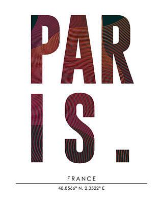 Paris City Print With Coordinates Poster